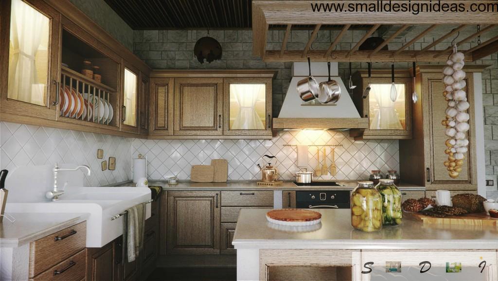 Light wooden furniture for vintage interior of the kitchen