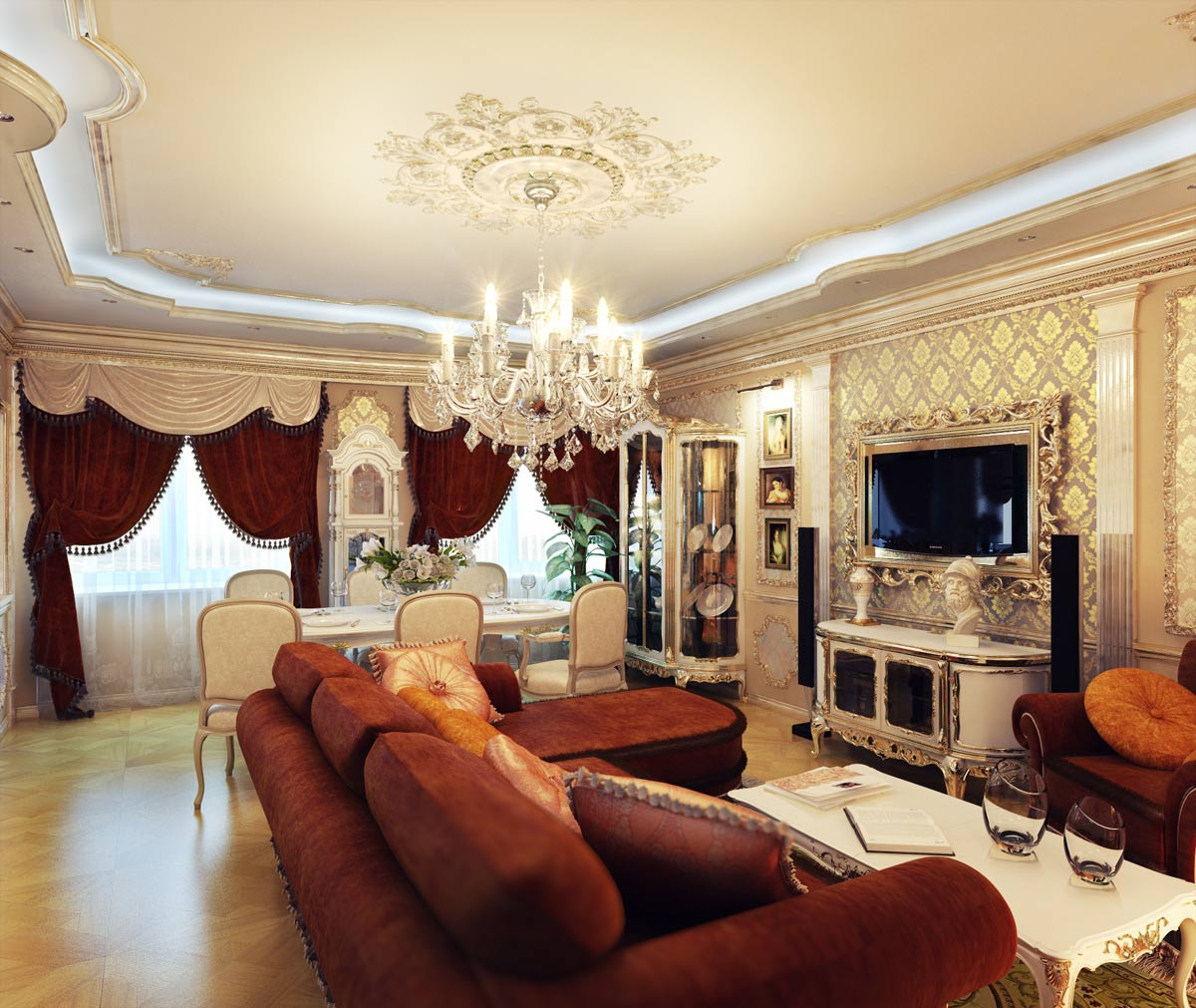 Nice Classic Interior Of The Living Room In The Old Roman Style Awesome Design