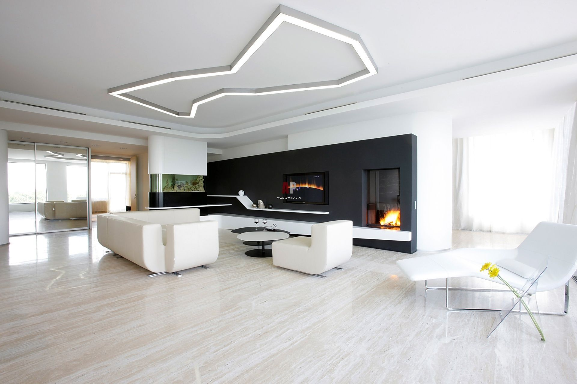 Minimalism interior design style in the living room with fireplace contrasting black wall and unusual