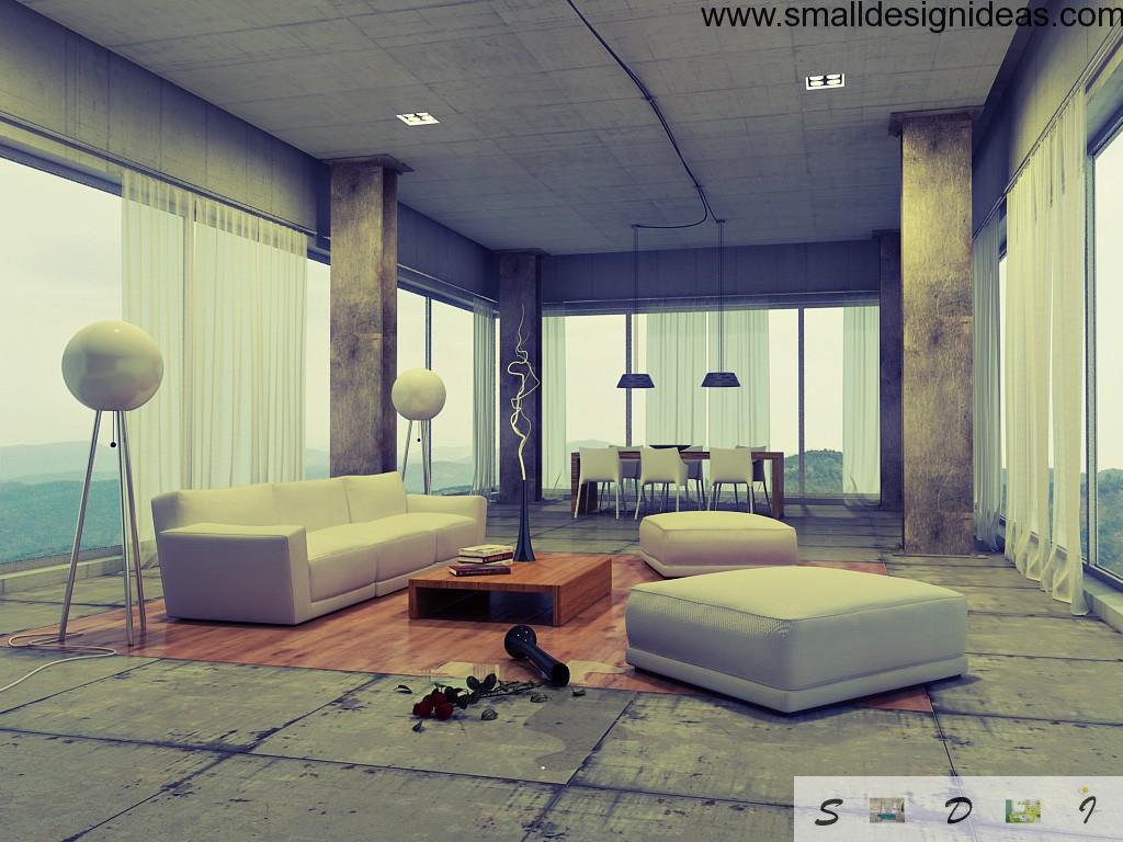 Loft interior arrangement and modern furniture decoration with piquant details