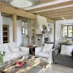 Spacious living room in the countryside house in the Provence design style