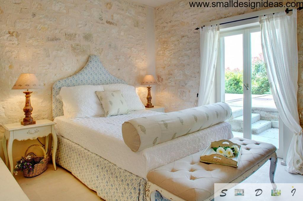 Rustic Greek style bedroom with white interior