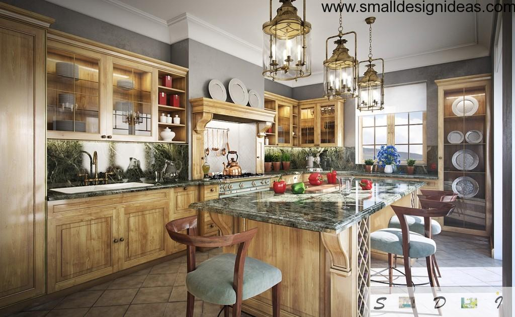 Vintage interior in the cool functional kitchen with a lot of peculiar elements, unusual chandeliers, wooden carved chairs and tiled floor