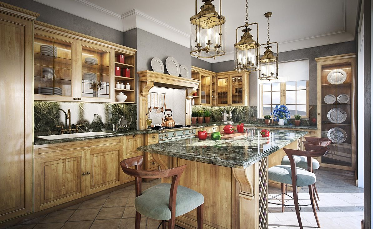Vintage Interior In The Cool Functional Kitchen With A Lot Of Peculiar Elements Unusual Chandeliers