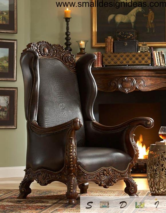Leather wooden armchair in English traditions