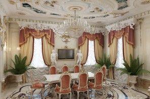 Unique living hall interior design in the classic style