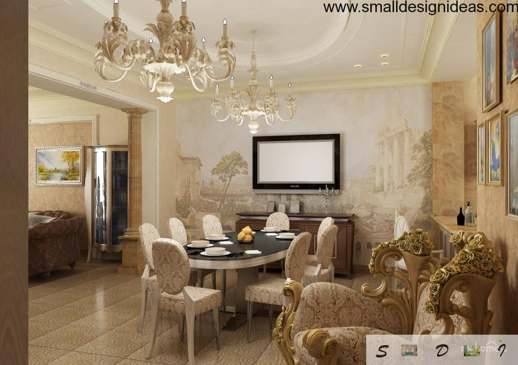 A lot of furniture, design elements and stucco in the classic interior of the living room