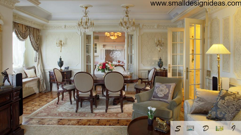 Living room in the classic design with a lot of distinguishable details