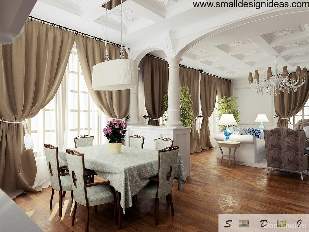 French Old Classic Interior Of The Adjoined Kitchen, Living Room And Dining  Room Classic Interior