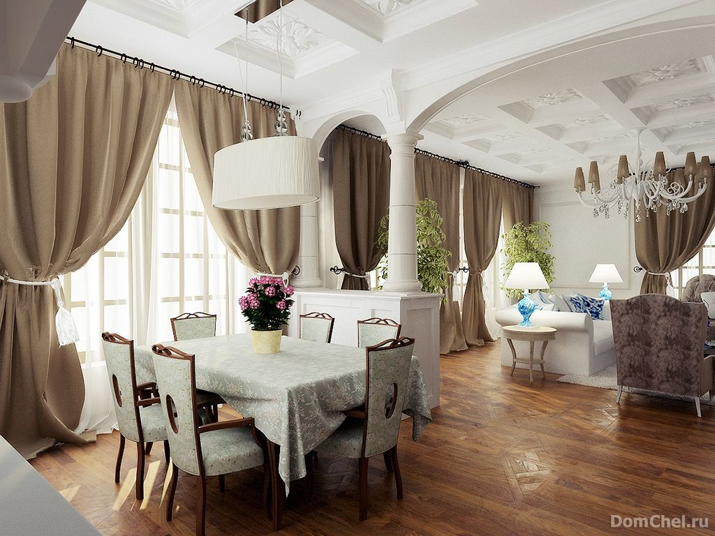 French Old Classic Interior Of The Adjoined Kitchen Living Room And Dining