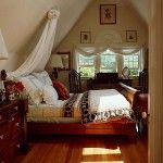 English bedroom with wooden trim