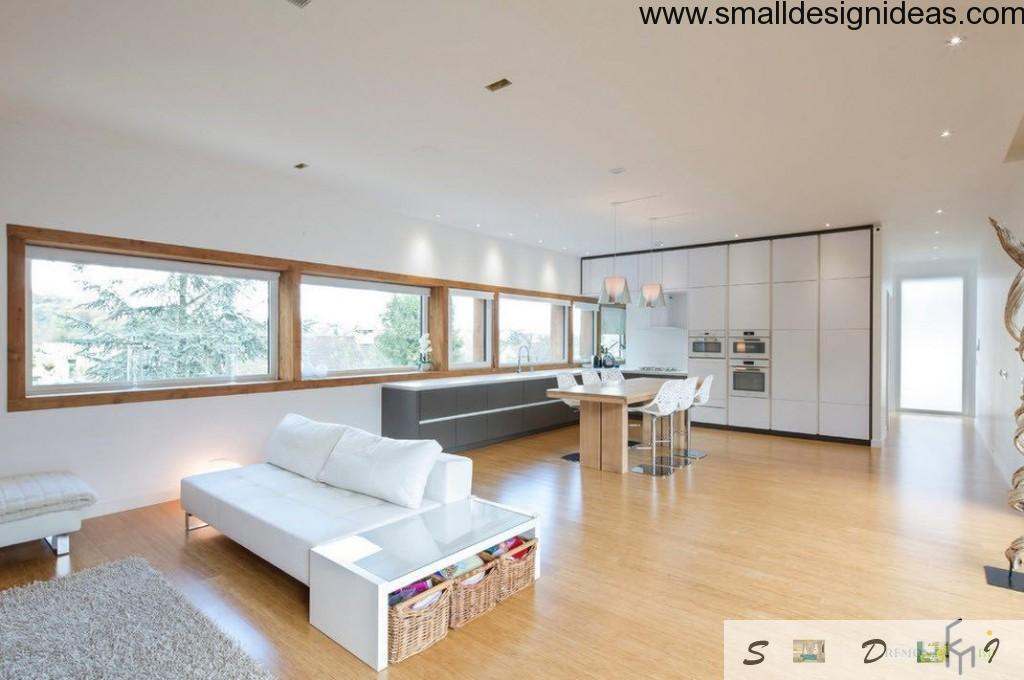 laminate and wooden window frames at the cool spacious living
