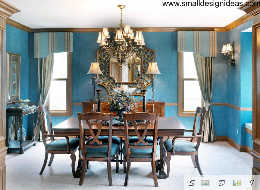 Blue interior of the classic dining room interior with chandelier, wooden furniture