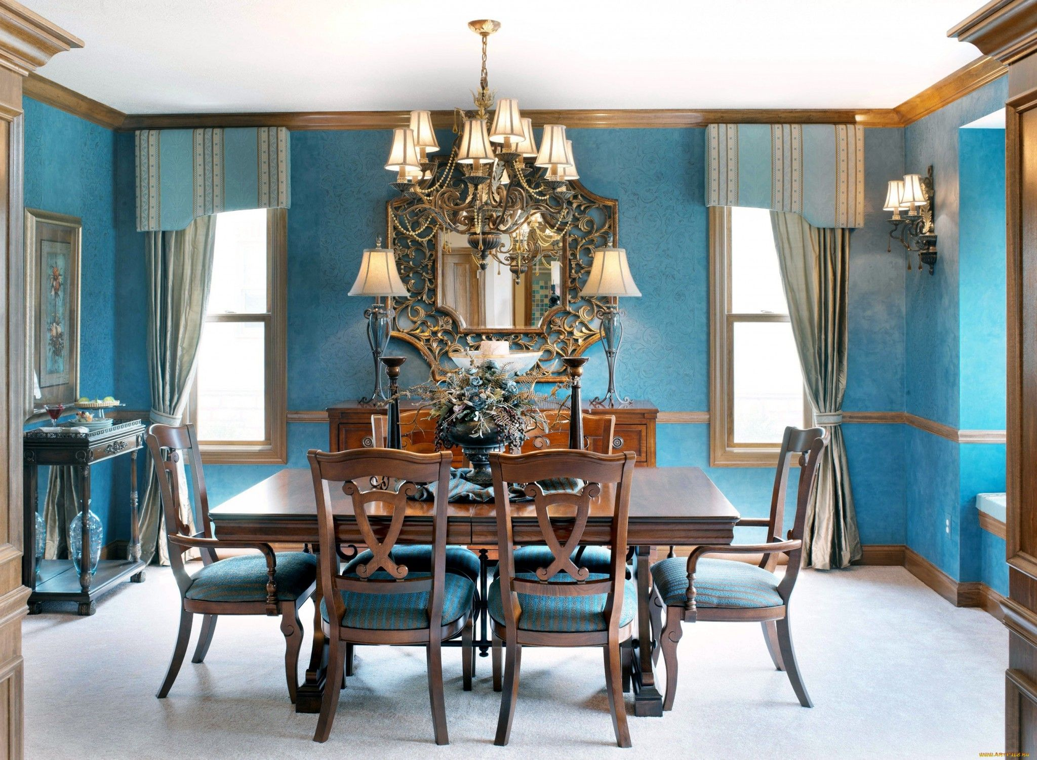 Blue Interior Of The Classic Dining Room With Chandelier Wooden Furniture