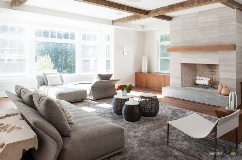 Small design ideas for unique gray living room with fireplace and decorative elements