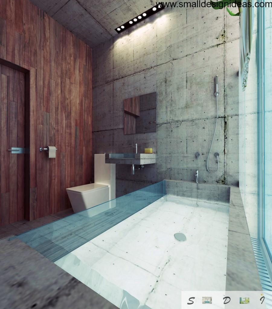 Real Lost bathroom interior full of glass and contrsting decorative elements and colors