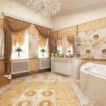 Classic bathroom interior with bright gold interior