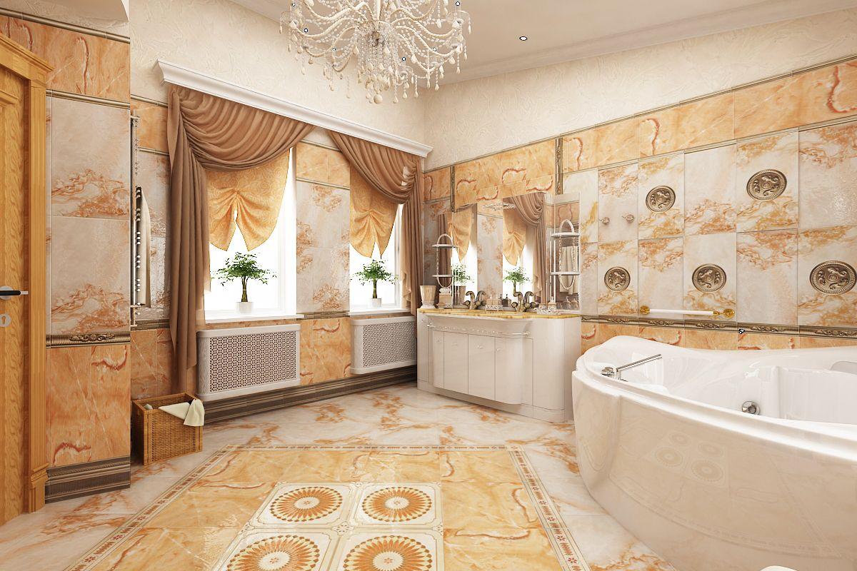 Classic bathroom interior design - Classic Bathroom Interior With Bright Gold Interior