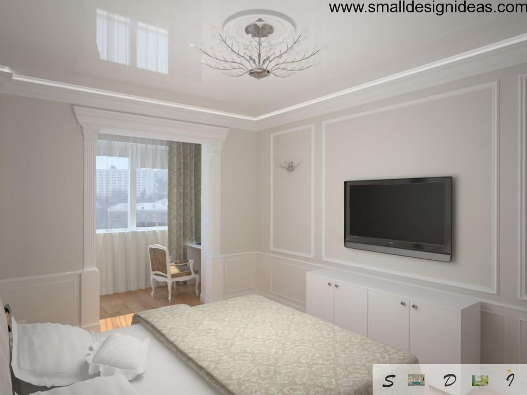 Moldings in the small bedroom