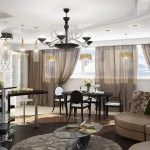 Living room combined with dining area in the dark colors of the classic design