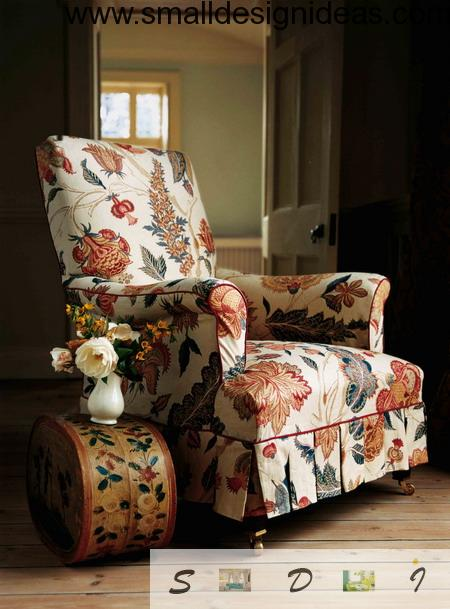 Upholstered armchair in floral ornaments