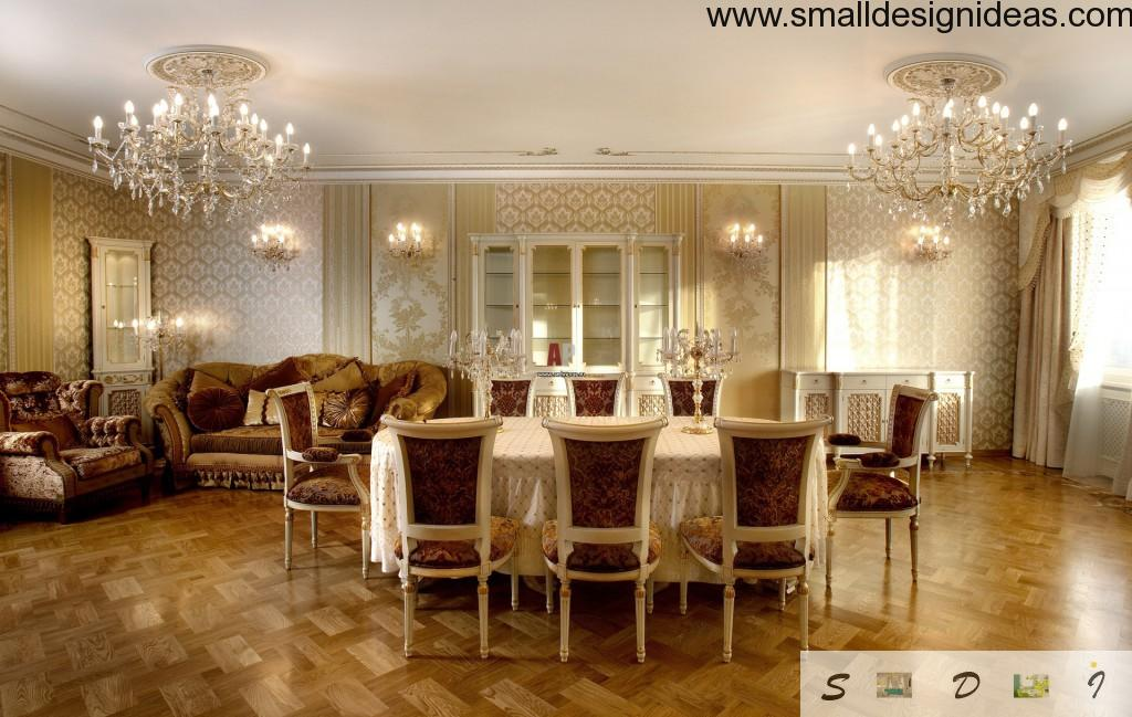 Chandaliers and the color palette makes the all image of Classic style in the interior