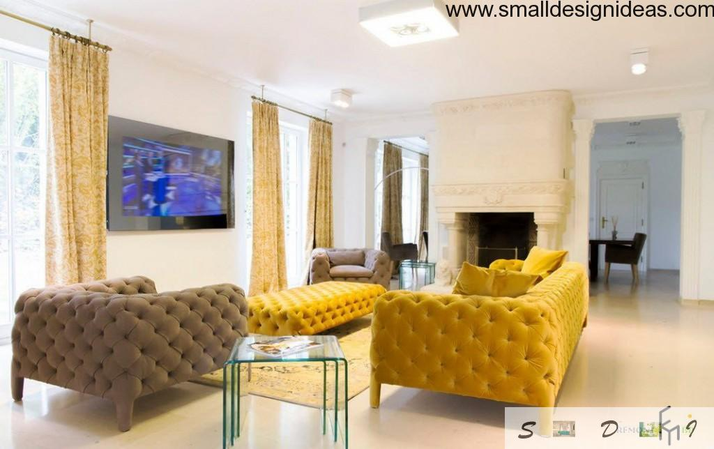 Brown and yellow furniture in light decorated living room of hi-tech style