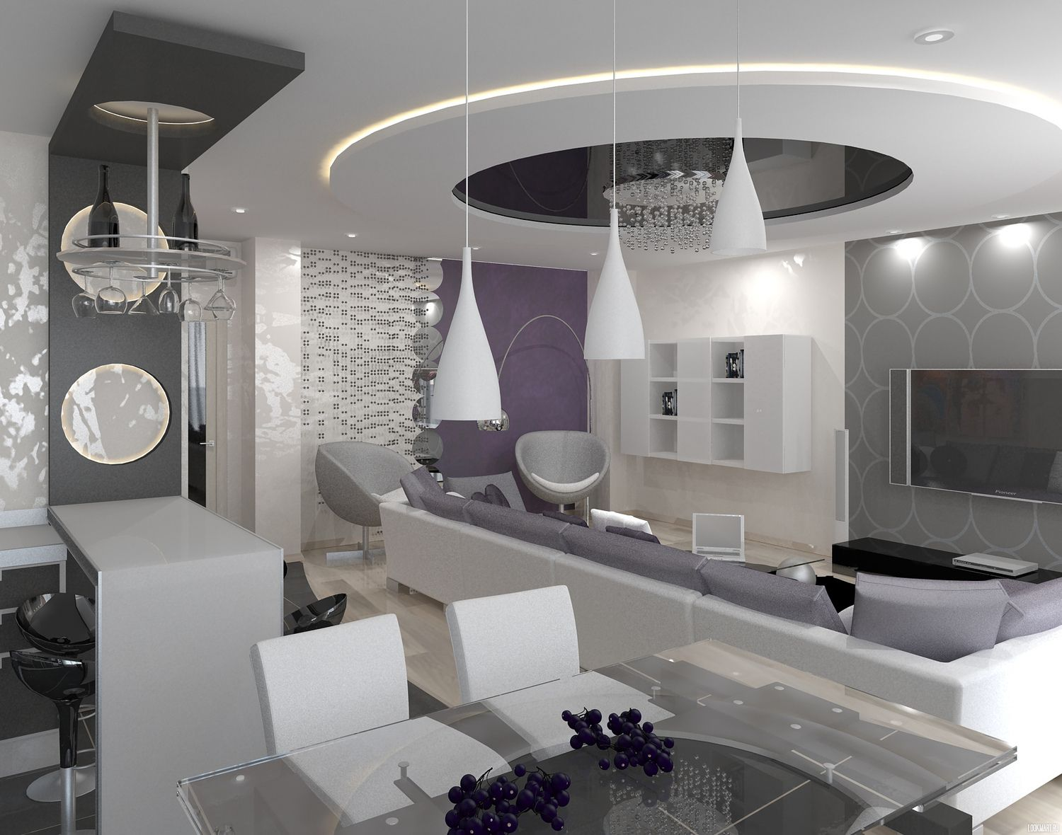 High Tech Dining Room Combined With Living And Kitchen Harmonize Uniform Design