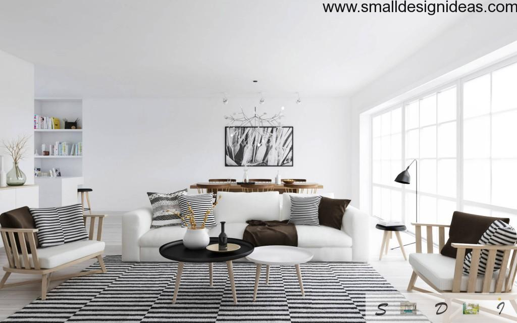 minimalistic interior with accents of upholstery