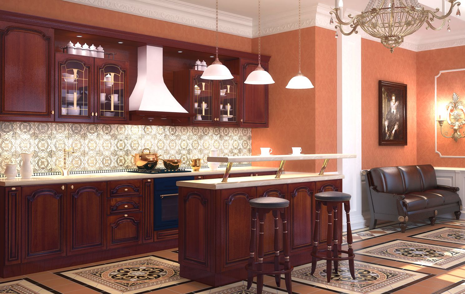 Island Bar At The Dining Zone Of Combined Kitchen With Living Room