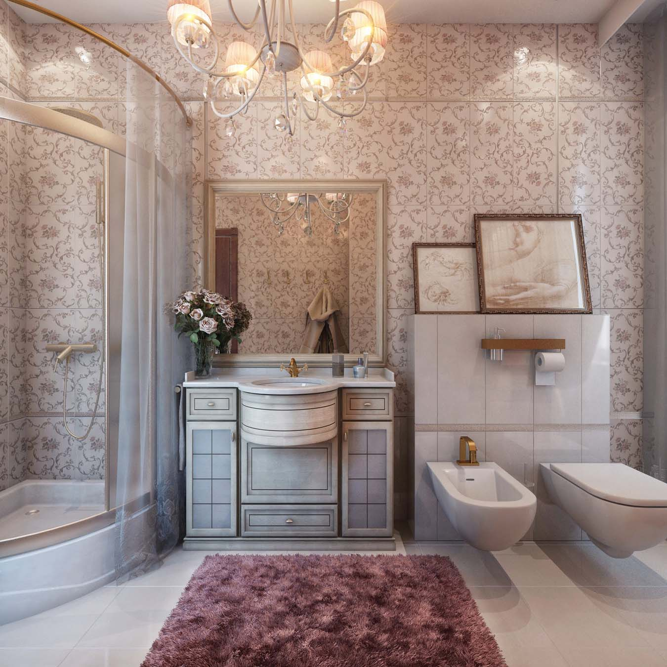 french classic interior of the bathroom - Bathroom Classic Design