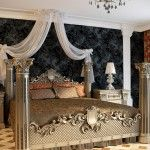 Royal classic bedroom design in noble dark blue color decoration