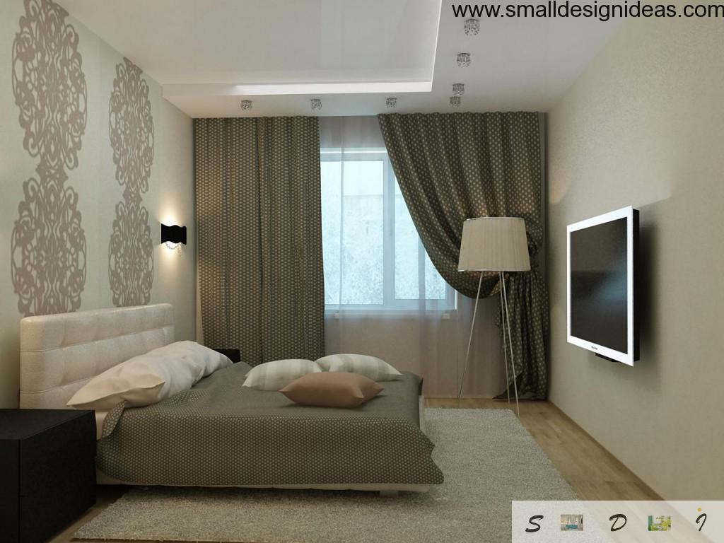 Dark green interior of the small bedroom