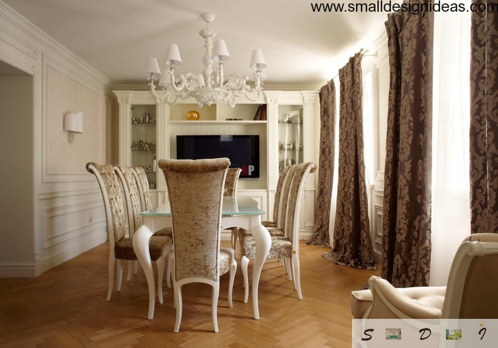 Dining room with a gorgeous royal silk blinds and high backs of chairs and laminate floor
