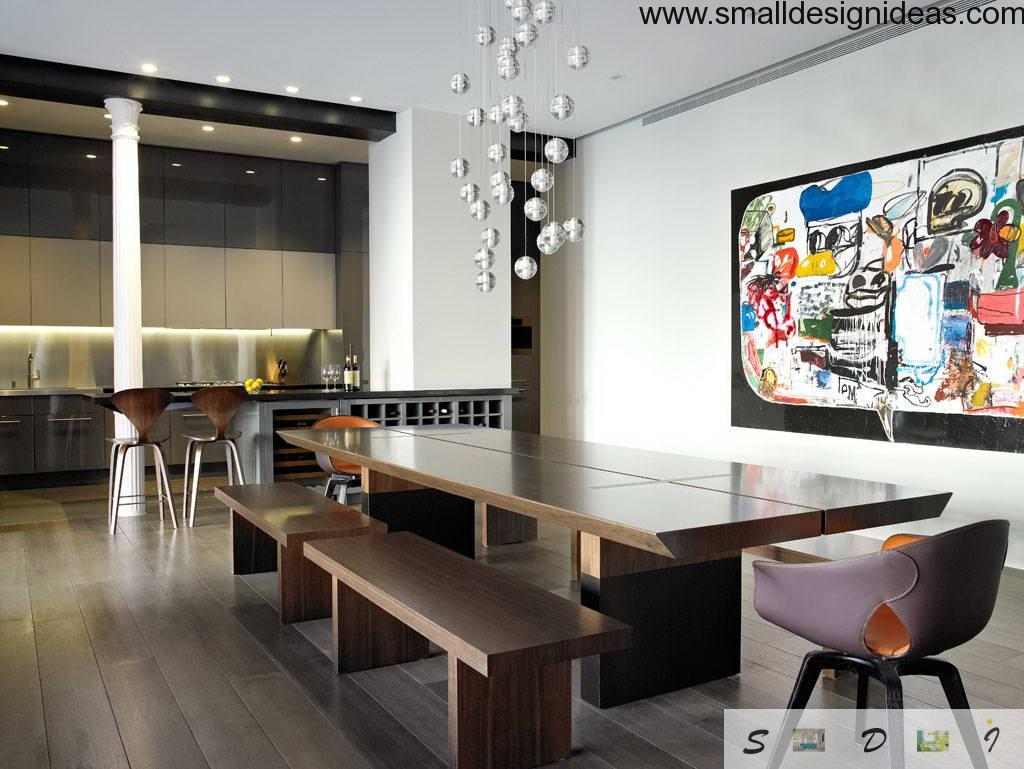 Unique minimalistic and technological design style in the dining room