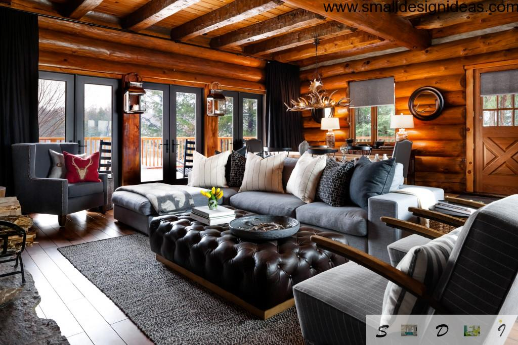 rustic style with classic elements in large countryside living room