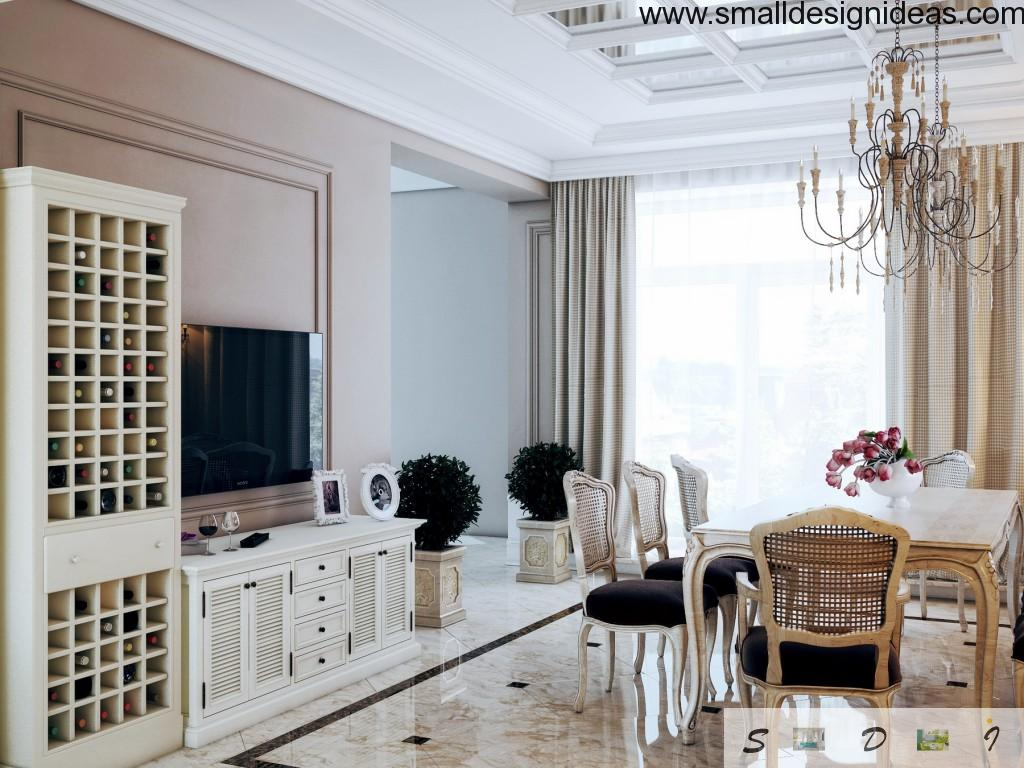 Calm interior of the dining room with elements of different European design styles looks fresh and bright