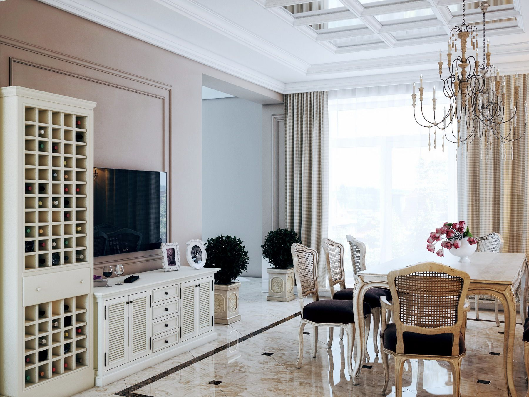 Calm Interior Of The Dining Room With Elements Different European Design Styles Looks Fresh And