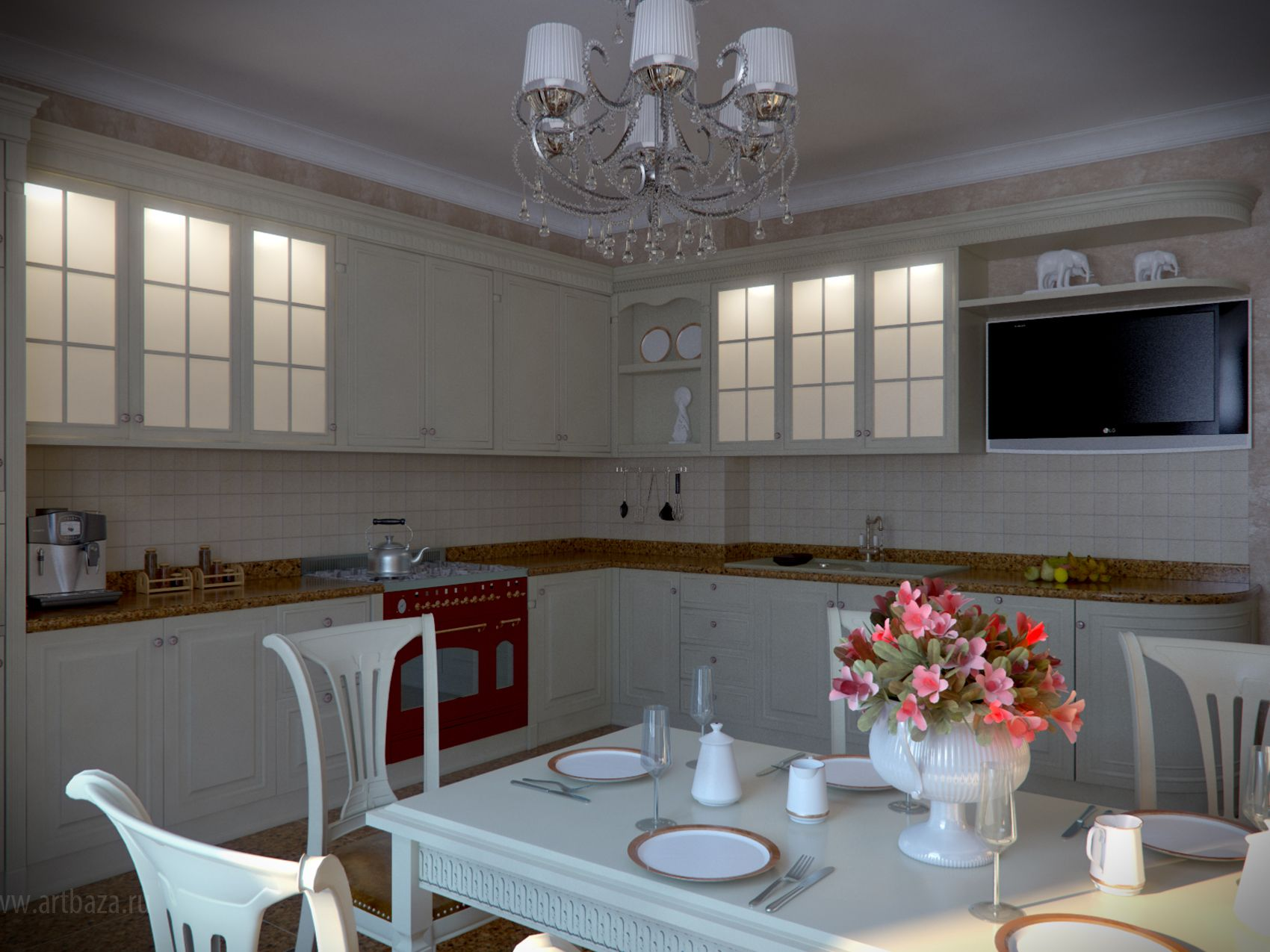 classic light theme for the spacious kitchen