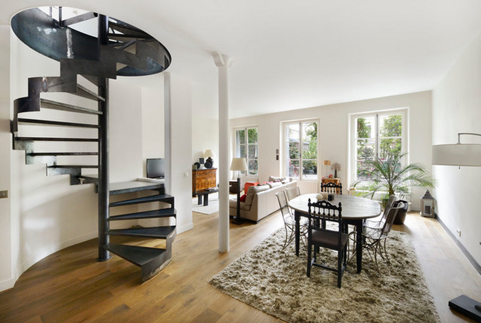 Iron black Ladder in the white toned living room