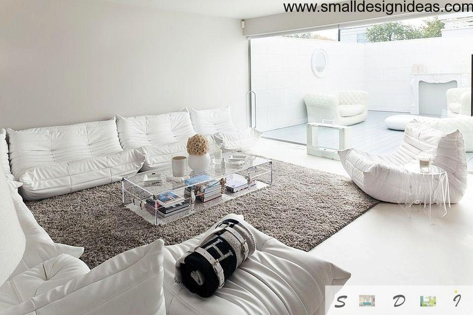 Small Design Ideas for Large Living Room in white European style tones