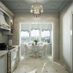 Dining room and kitchen in the classic style design