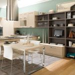A lot of functional elements and furnishings at the kitchen in vintage style and dark & bright contrasting colors