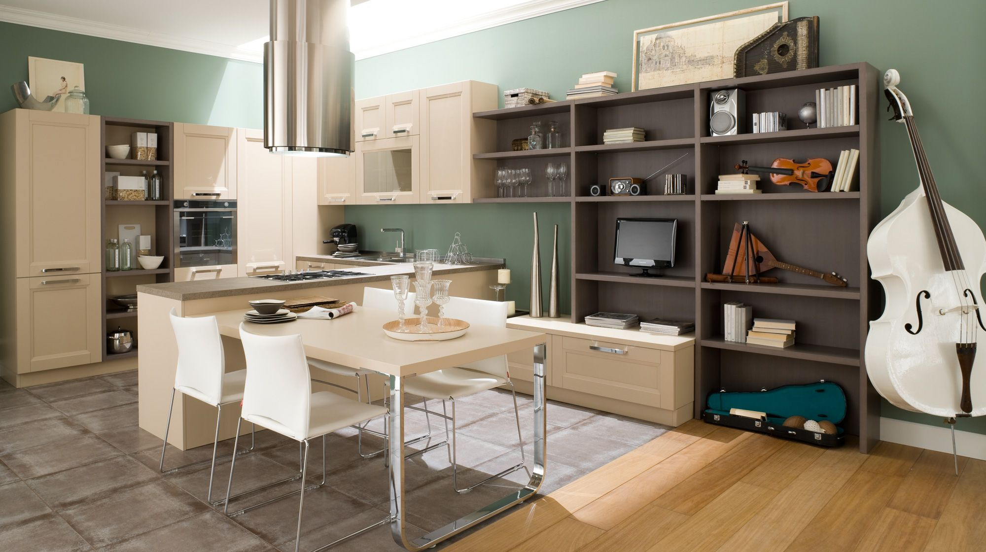 A Lot Of Functional Elements And Furnishings At The Kitchen In Vintage Style Dark