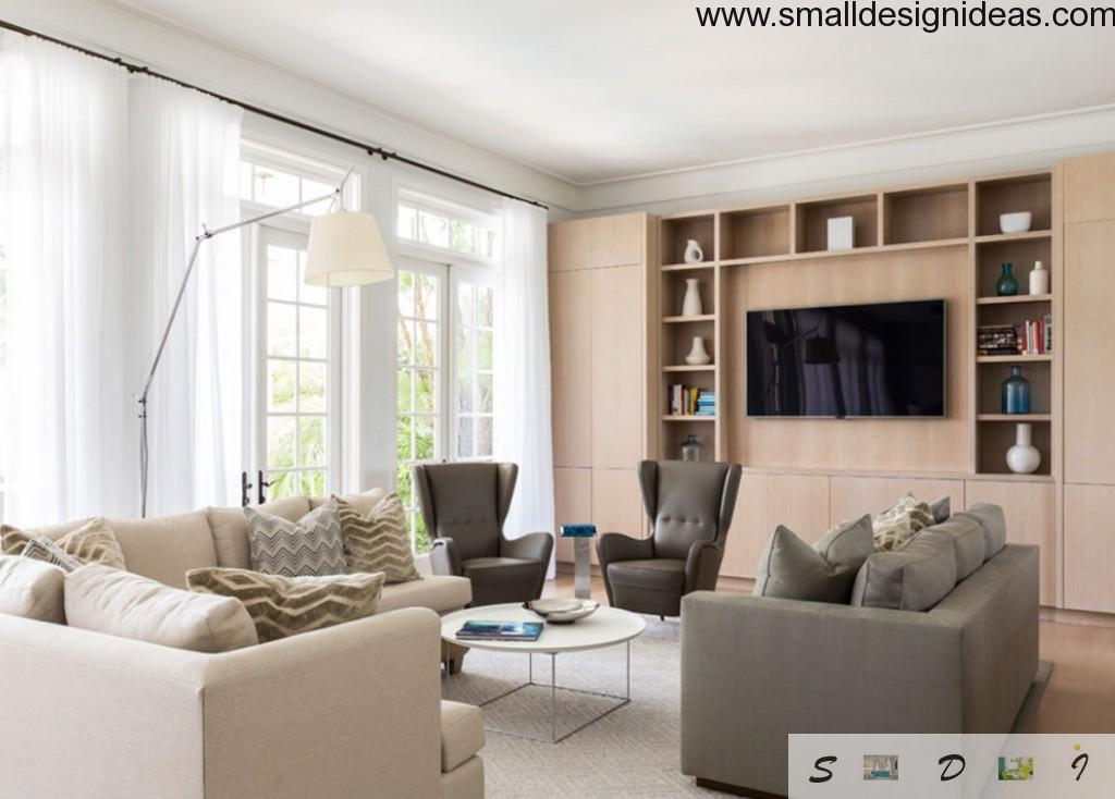 Small Design Ideas for Large Living Room with light wooden furniture