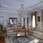 Stucco, white carved furniture in the classic interior