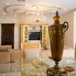 Gilded elements of the classic interior in house room