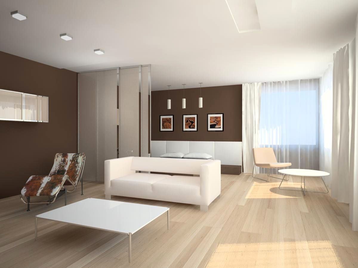 Minimalism interior design style used light laminate floor and airy curtains with simple and effective furniture