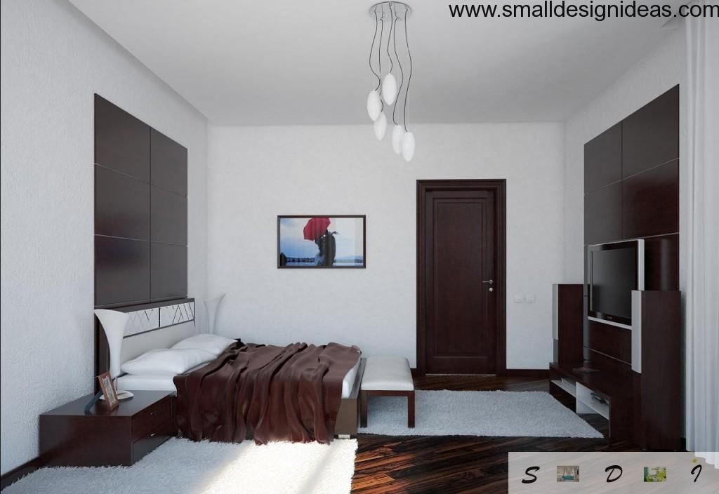Dark Color Contrasting To White Trim Of The Small Bedroom