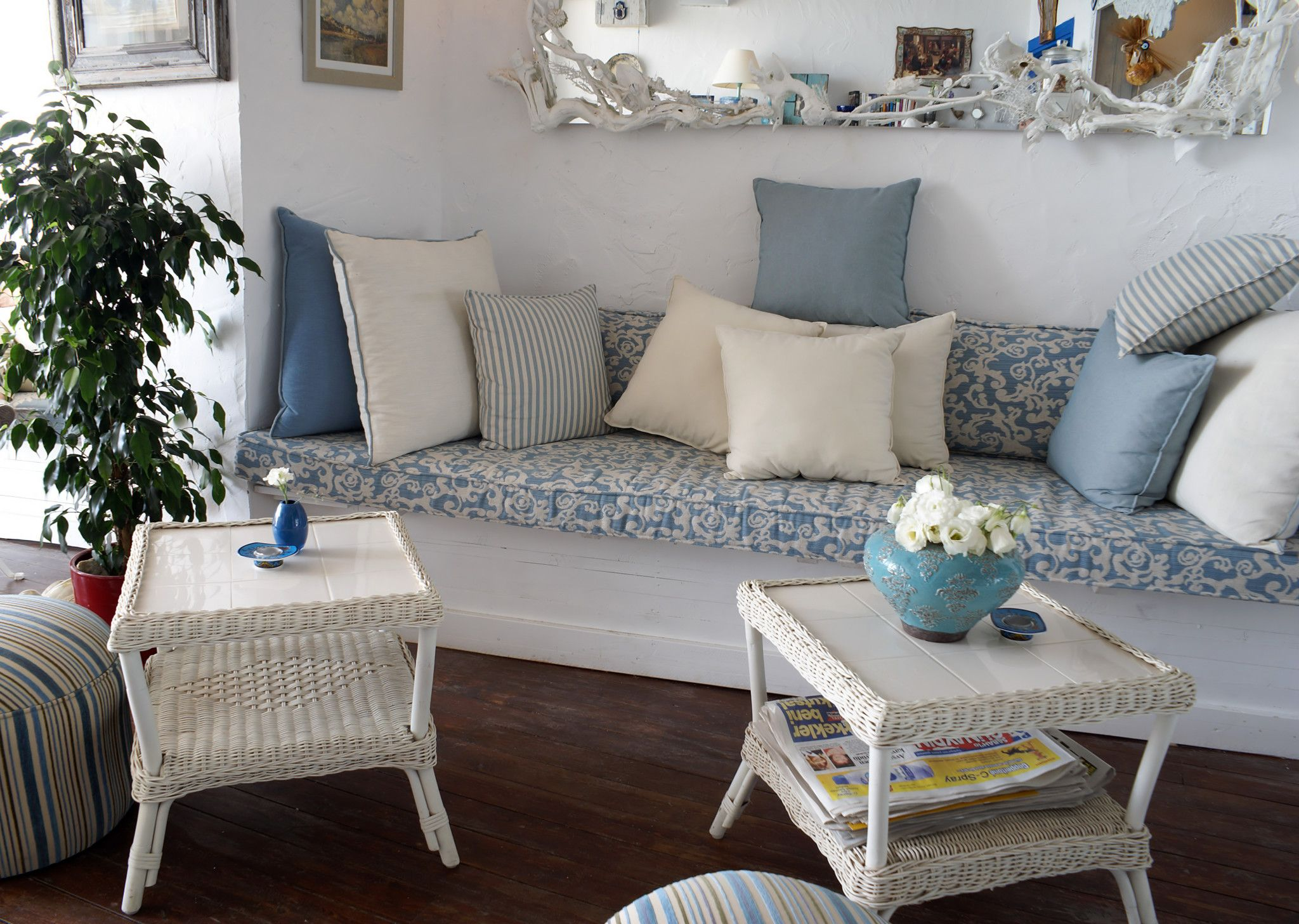 provence interior design style calm and fresh rural provence style in the interior with marine blue motifs and a lot